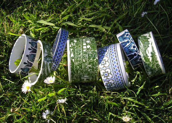 Vintage Tea Cup Stacking Bracelets