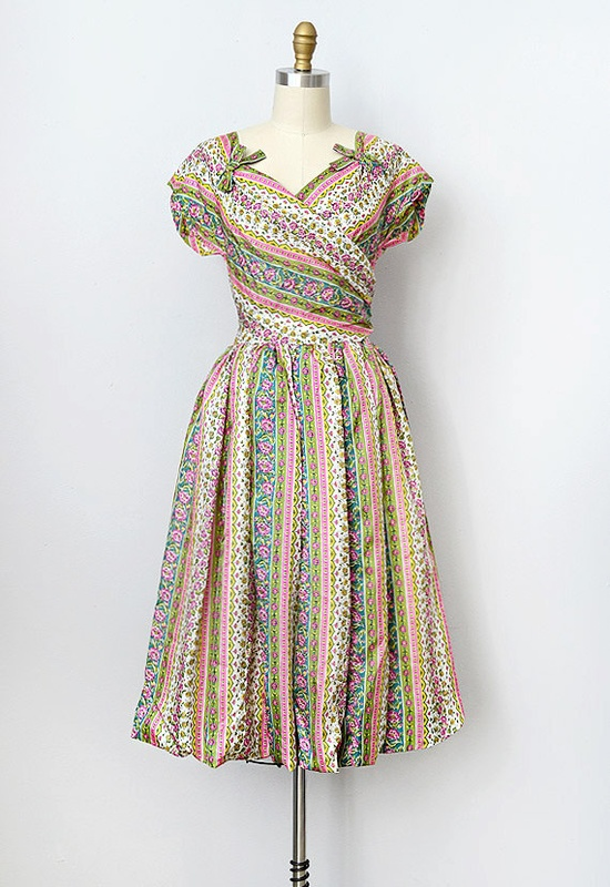 vintage 1950s dress / 1950s silk party dress / by adoredvintage, $148.00