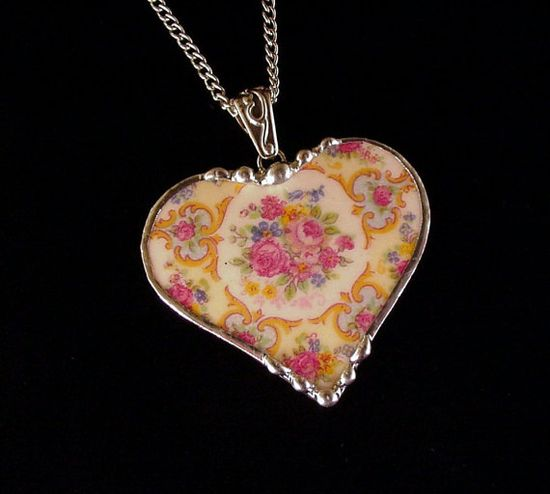 Broken China Jewelry Heart Pendant Parisian roses made from a broken plate