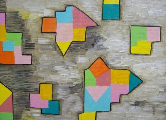 Geometric Shapes Abstract Painting Original. $20.00, via Etsy.