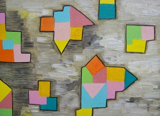 Geometric Shapes Abstract Painting Original. $20.00, via Etsy.