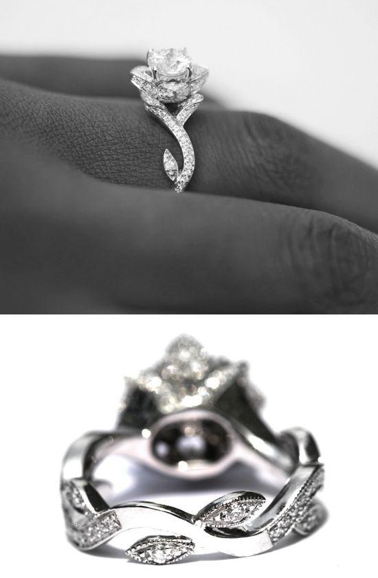 BLOOMING Work Of Art - Flower Rose  Lotus Diamond Engagement or Right Hand  Ring -  Milgrain - 1.50 carat - 14K white gold - brides - fL07. $4,500.00, via Etsy.