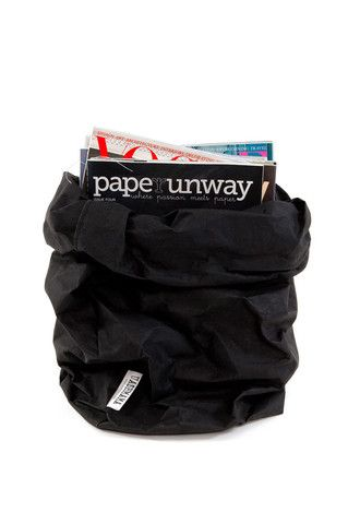 Uashmama Paper Bag - Black - XL Decorative storage basket Handmade in Italy www.koromiko.com