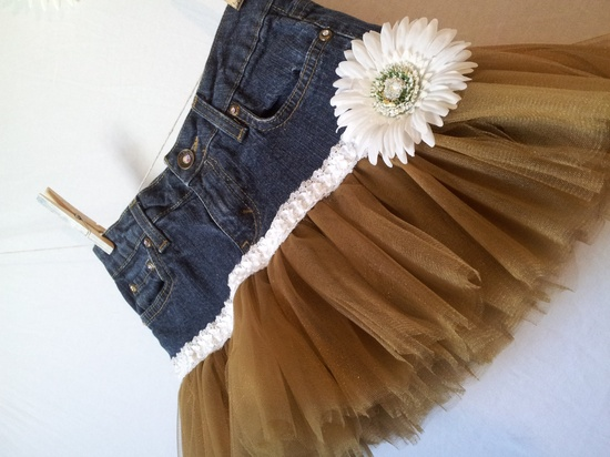 Tutu skirt -- a creative way to revamp little girls' jeans that are too short but still fit in the waist