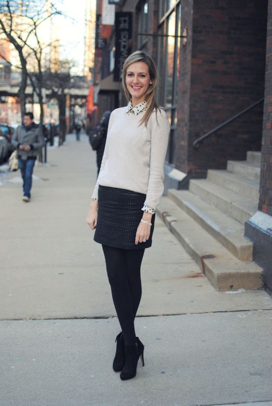 black tights, making short skirts work appropriate all winter long!