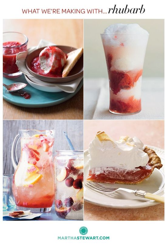 What We're Making with Rhubarb... Rhubarb Float with Buttermilk Sorbet, Rhubarb Meringue Pie, Rhubarb Sangria and much more.
