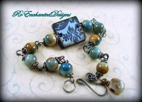 Gun Metal Wire Wrap Ephemera Tile Boho Bracelet w Ceramic Blue Beads
