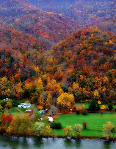 Riverside farm, near Bluestone State Park, West Virginia. Kimmie we have BEAUTIFUL Autumns in WV
