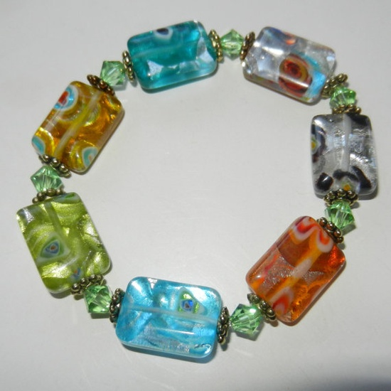 Colorful Millefiori Glass Beaded Bracelet by CloudNineDesignz, $20.00
