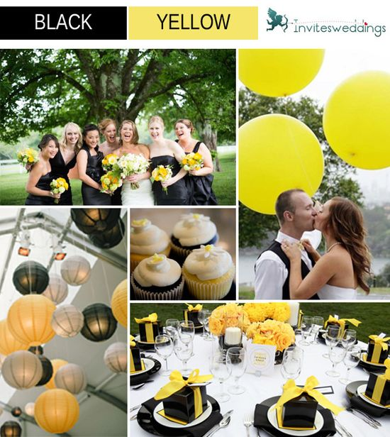 yellow and black wedding ideas
