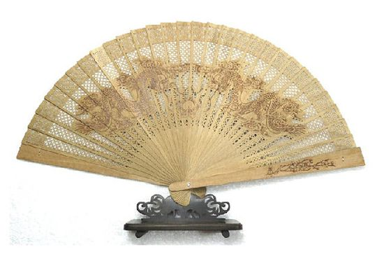 Hand made gift sandalwood fan hand fan Chinese Dragon by Bloobling, $19.00