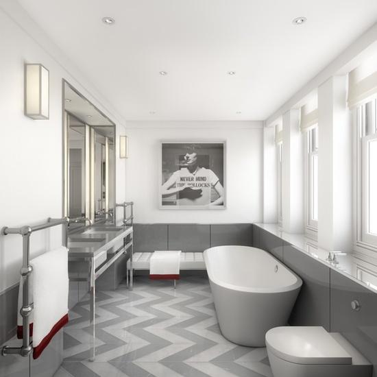 chevron floors + modern bathroom design via Tom Bartlett