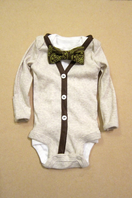Baby Boy Outfit  Cream/Brown Cardigan  Removable by KraftsbyKizzy, $32.00