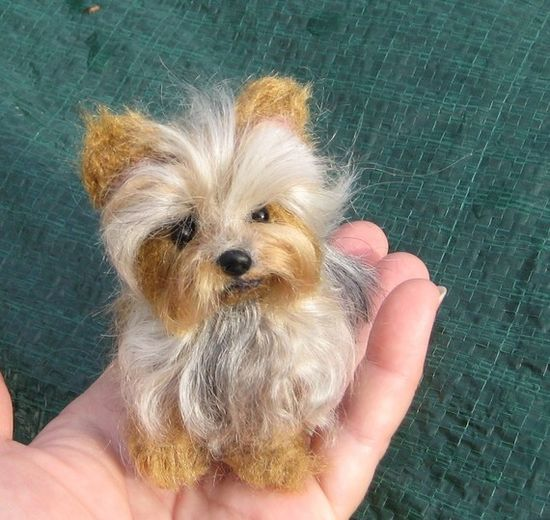 This is a needle felted Yorkie.  A replica of your pet you can hold in the palm of your hand. @gfelted.etsy.com $200.  This artist will except special orders to make your special pet.  She is a special artist.