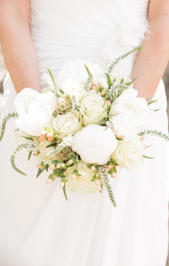 Lush white peony, rose, and berry wedding bouquet {Photo by Retrospect Images via Project Wedding}