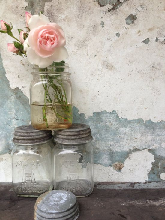 Vintage Atlas Mason Jars/Zinc Lids/Shabby Chic Decor/Canning/Vases