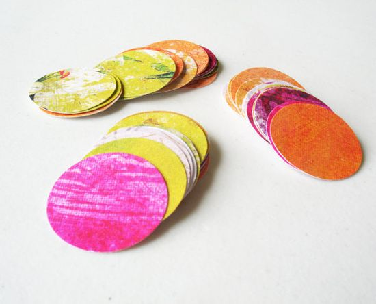 50 Assorted Colors Mini Circle Cardstock Die cut  by CurlynChic, $3.00