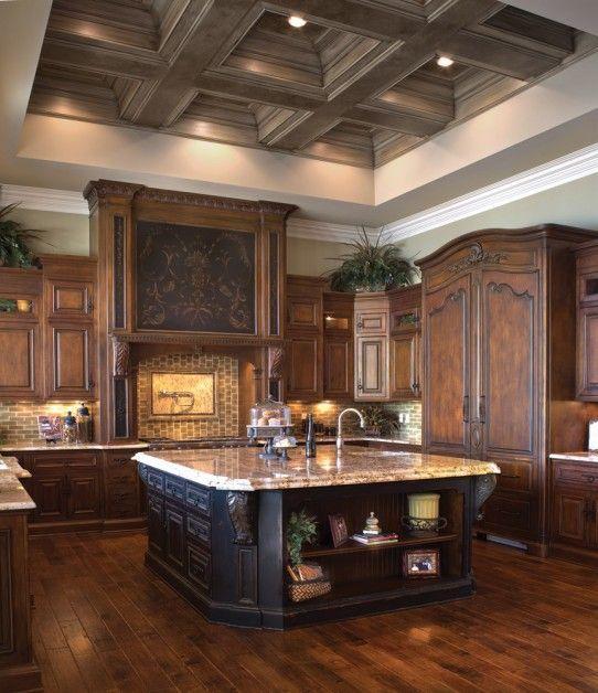 Love this kitchen!! Love dark wood!!