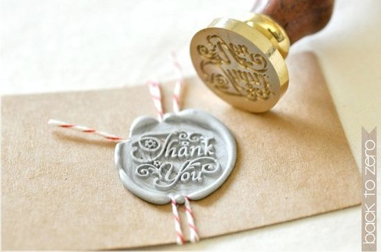 """Beautiful, swashy """"Thank you"""" wax seal stamp — perfect for post-holiday cards! #typography"""