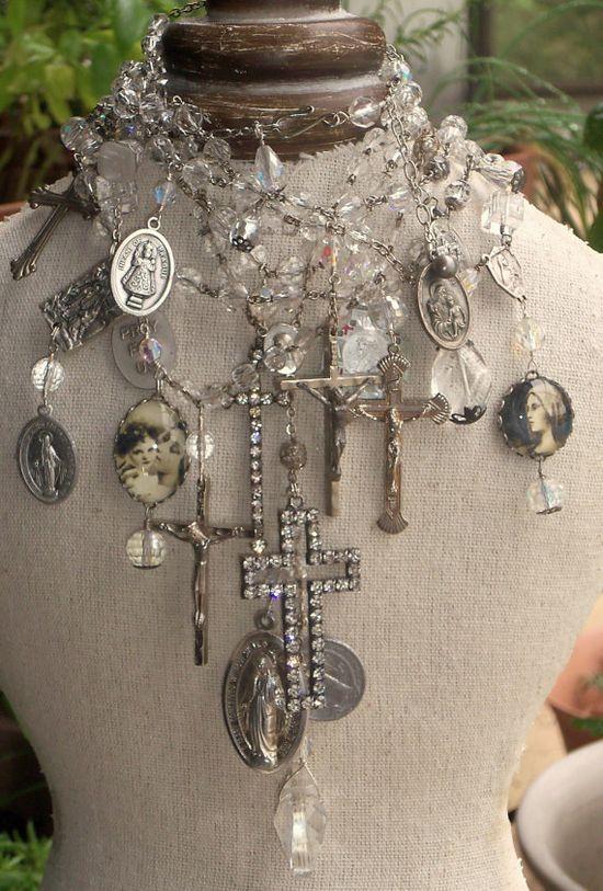 ? dress form, crosses, crystals