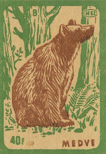 vintage matchbox label  #bear