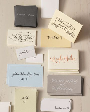 hand-lettered names and table numbers