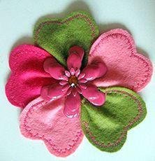 handmade craft felt flower applique enamel pin