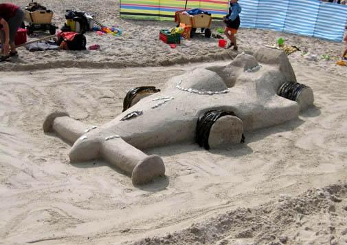 race car sand sculpure idea for the beach