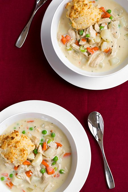 Chicken Pot Pie Soup with Parmesan Drop Biscuits