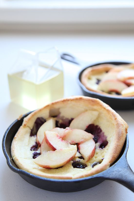 Blueberry Dutch Babies with Nectarines and Ginger Syrup