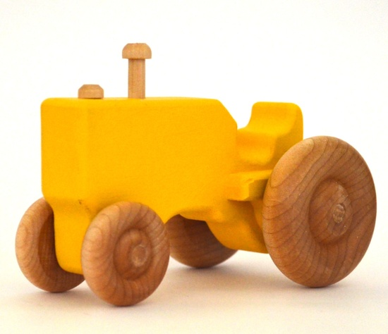 Yellow Toy Tractor - Waldorf Wood Toy- Pretend Play - Personalized Push Toy for Toddlers. $15.00, via Etsy.