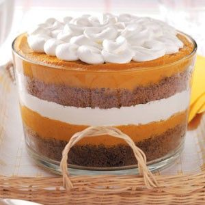 pumpkin gingerbread trifle for fall & Thankgiving