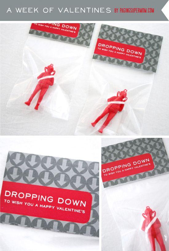 Dropping Down Parachute Man Boys Valentine Printable