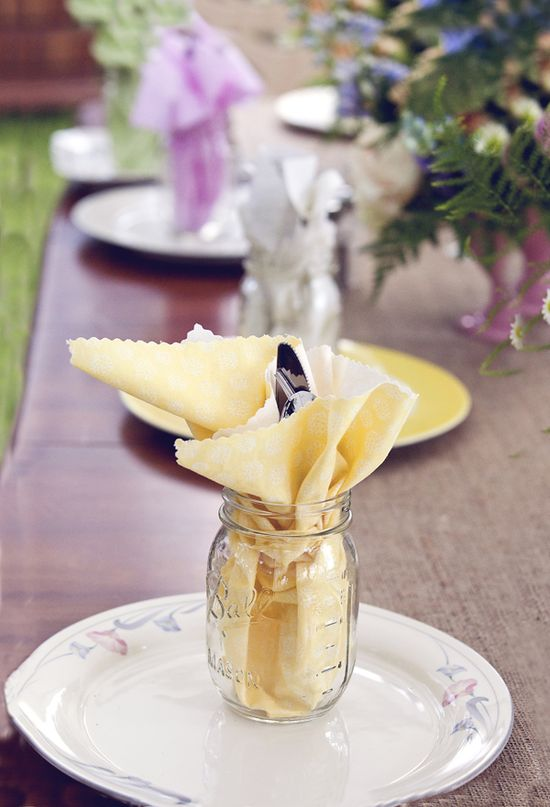 Fun idea for a party; use scallop fabric shears to make homemade napkins. Place in mason jars with cutlery for fancy touch.  Mason jar is your glass for the day!