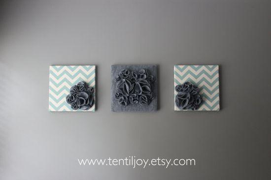 "Three Wall Art Canvases, Blue and Gray Chevron 12x12"" Wall Hangings, Wall Art, Blue Chevron Wall Decals, Chevron Home Decor, Chevron Nursery"