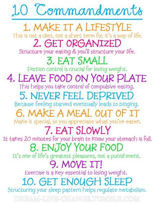 10 Commandments of healthy eating