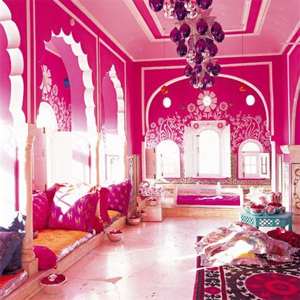 Pink Room with pink ceiling
