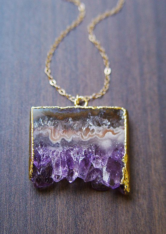 Amethyst Stalactite Druzy Necklace 14k Gold by friedasophie, $79.00