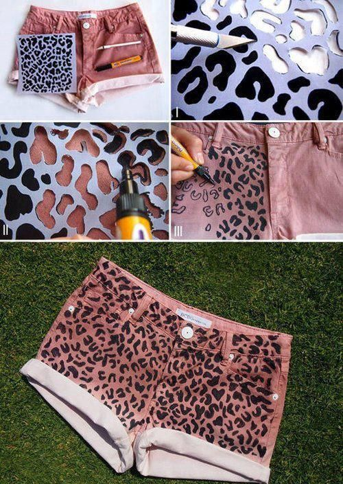 diy fashion... Think im gonna try this!maybe a different pattern, or if a cheetah print, only one part the shorts will have the pattern