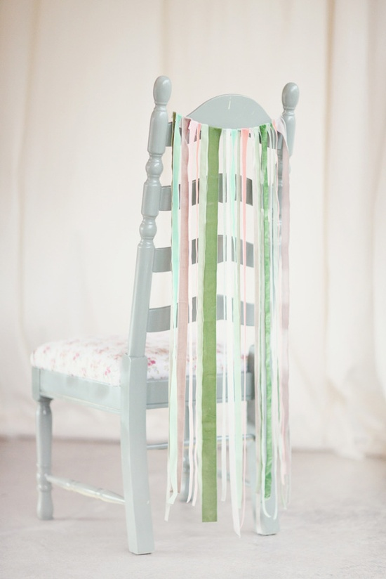 Simple and so cute! Ribbon chair decor. Photography by simplybloomphotog...