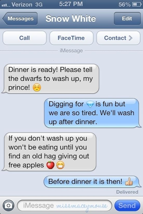 "Fun ""texts"" from Disney Princesses to their Princes"
