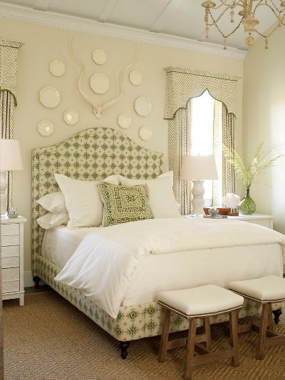Plates over the headboard.