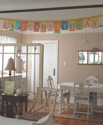 Banner with pom pom garland