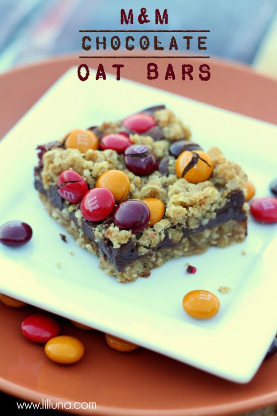 Fall M&M Chocolate Oat Bars