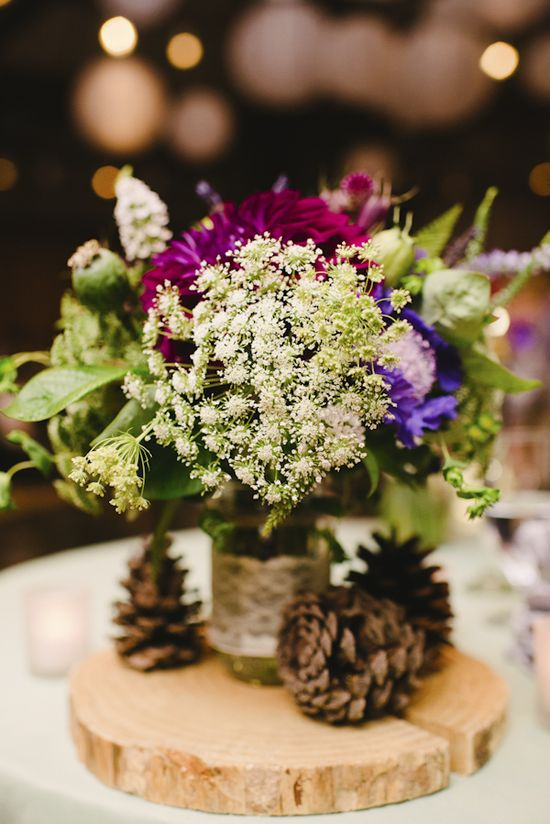 Pacific Northwest inspired wedding reception centerpiece by Summersweet Design, wedding photo by Aaron Courter Photography