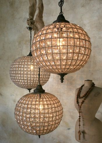 Pretty globe chandeliers. #chandelier #globe #romantic #lighting #glass