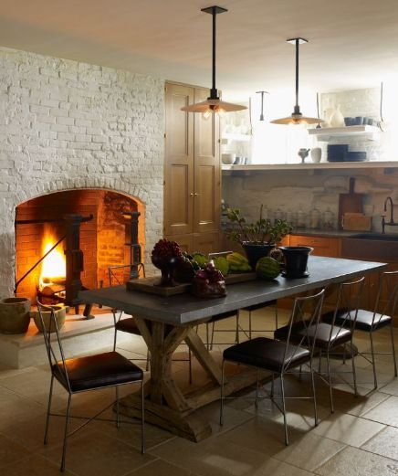 oversized fireplace in the kitchen #kitchen decorating before and after #kitchen interior design #kitchen decorating #kitchen designs #kitchen interior