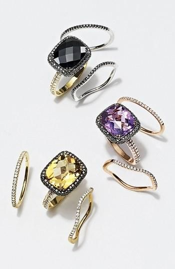 Love the black stackable Bony Levy rings! #Nordstrom