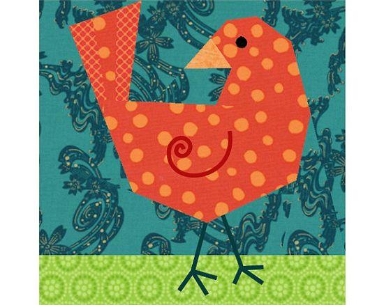 Birdie Bird paper piecing quilt block pattern PDF