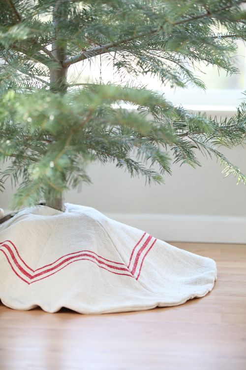 tree skirt made from a vintage european grain sack